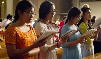 girls worship in great upper church during pilgrimage