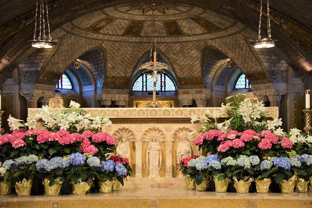 crypt church altar with easter decor