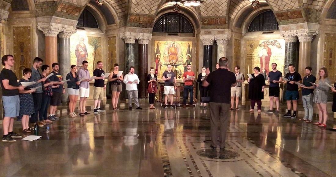 Basilica choir rehearses in Crypt Church