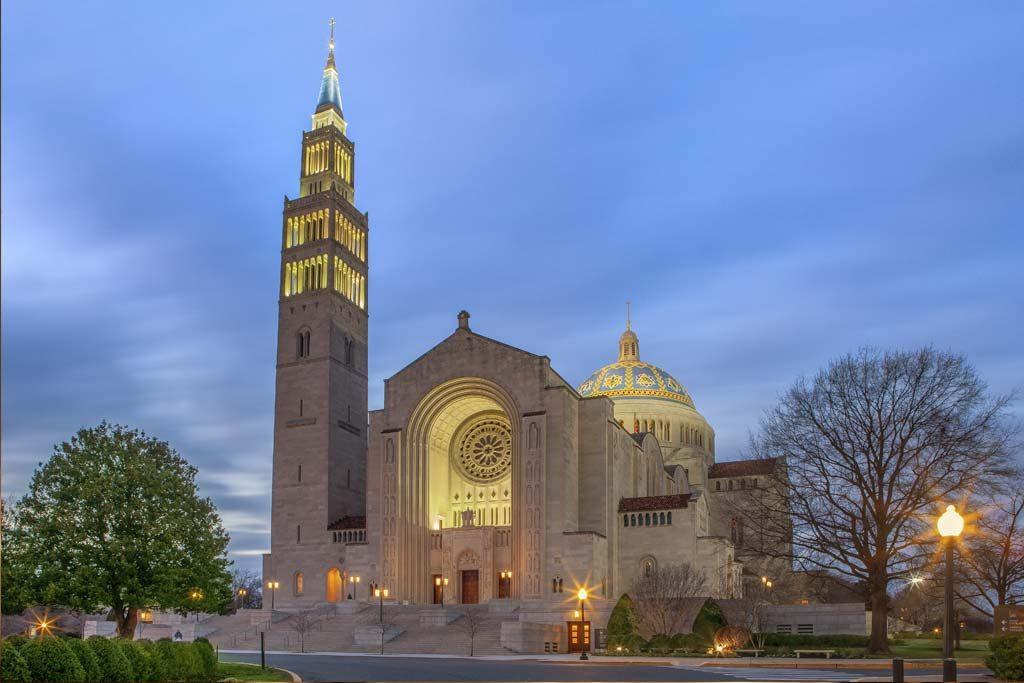 Basilica front exterior at dusk