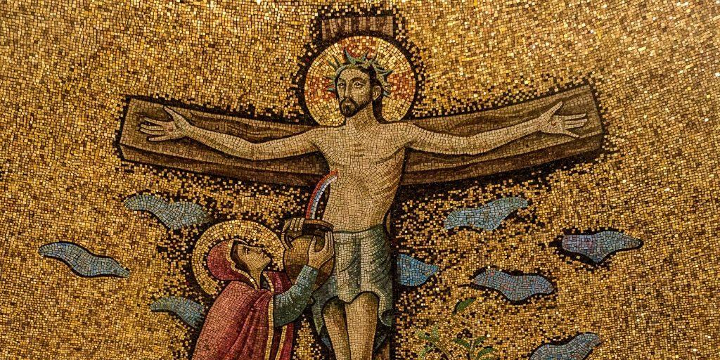 Basilica crucifixion mosaic