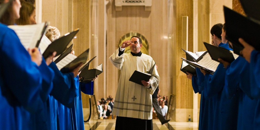 Music Director Peter Latona conducts Basilica choir
