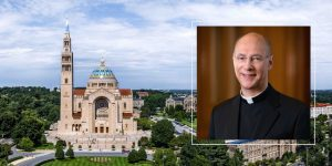 Monsignor Rossi with Basilica background