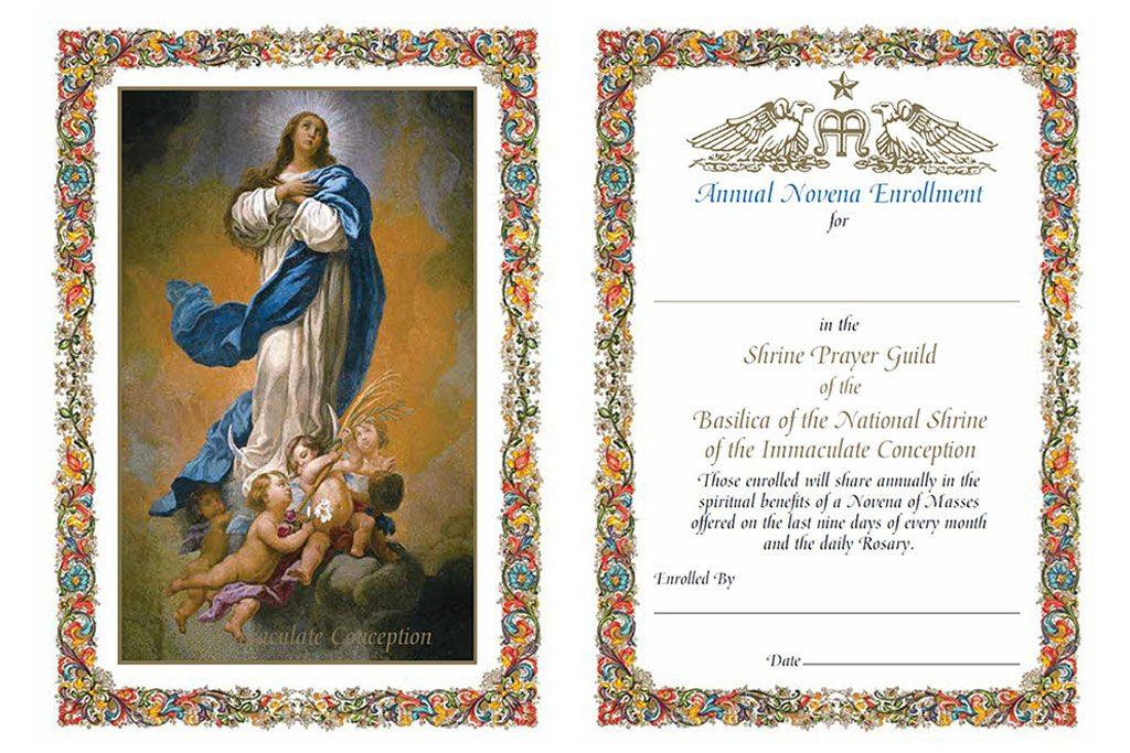 Annual Novena Enrollment Prayer Card