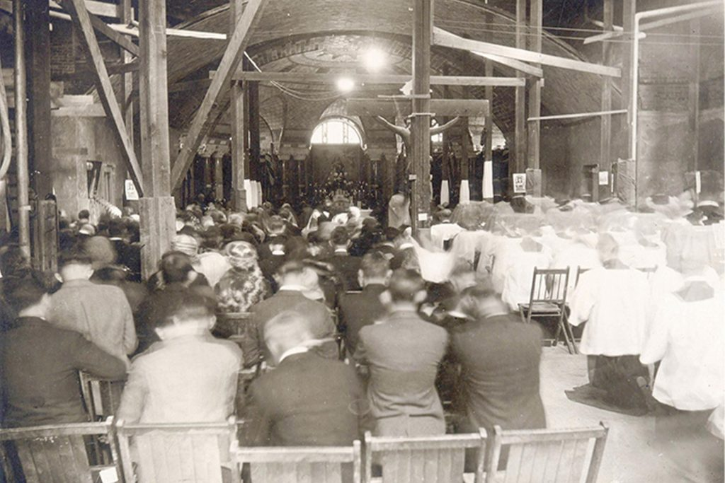 first mass in crypt church