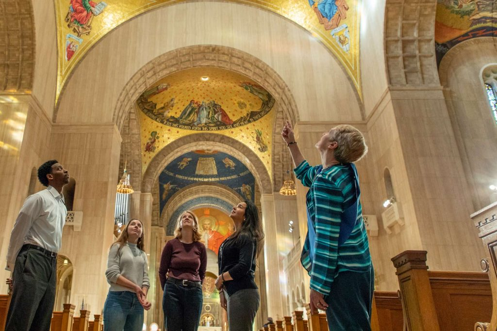 docent leading guided tour showing domes in great upper church