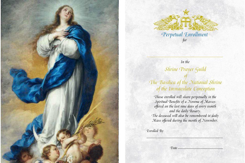 Perpetual enrollment for the living prayer card