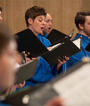 Basilica choir members singing