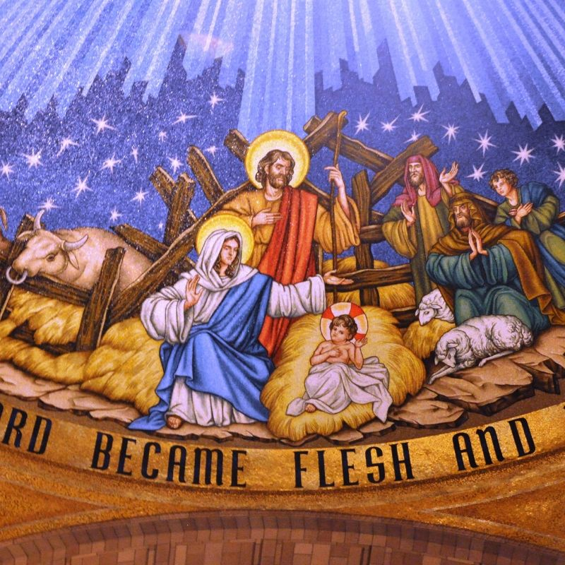 Nativity depicted in the incarnation dome