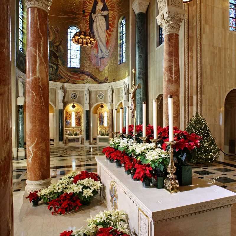 Great Upper Church decorated for Christmas