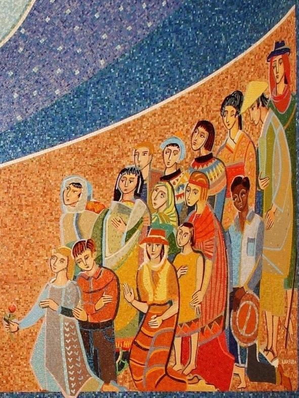 Mary Queen of Missions mosaic closeup