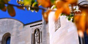 basilica exterior fall leaves