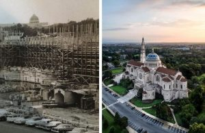 basilica exterior then and now