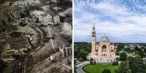 Basilica aerial then and now