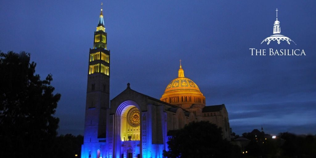 Basilica lights it blue