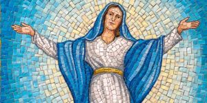 Assumption of mary rosary garden glorious mysteries