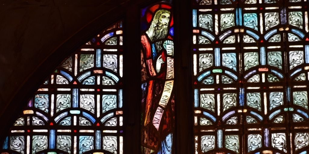 Elijah stained glass crypt church