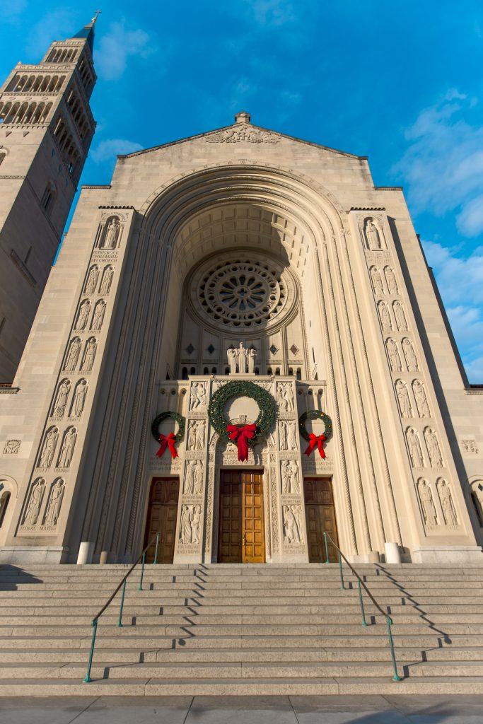 Basilica entrance door with Christmas wreaths 2