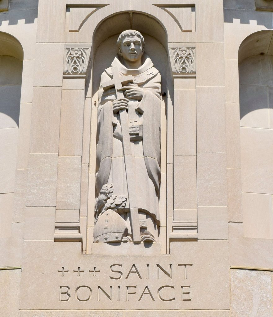 Boniface portrayed in the north façade of the Basilica