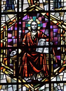 Stained glass showing Christ as teacher in the Great Upper Church