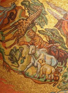 Detail of the Creation mosaic shows animals both wild and domestic