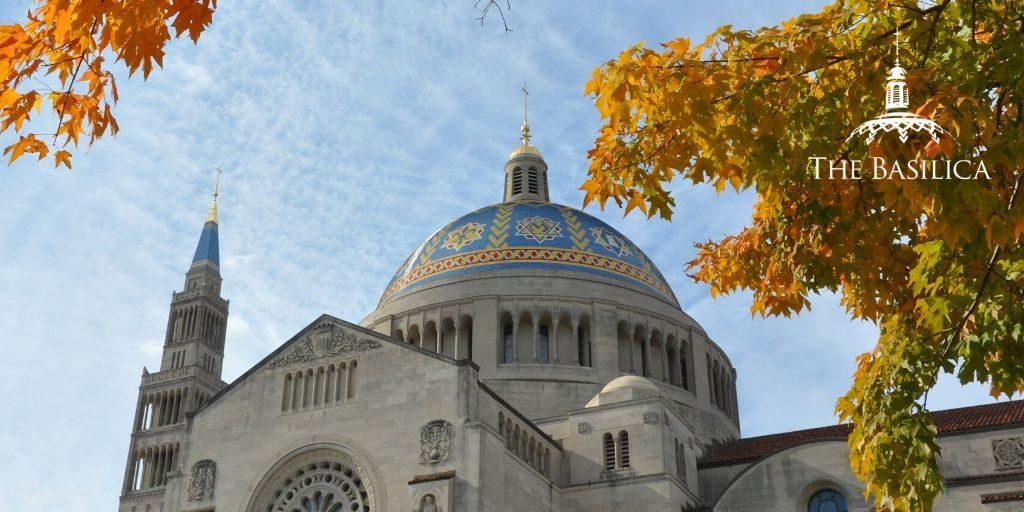 Thanksgiving exterior Basilica banner