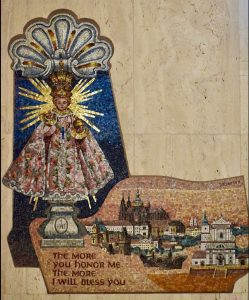 The Infant Jesus of Prague is depicted in mosaic in the Our Lady of Holy Hostyn Chapel