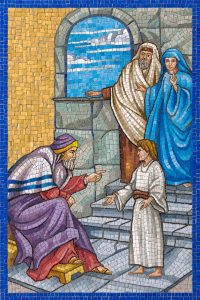 The Fifth Glorious Mystery mosaic in the Rosary Garden