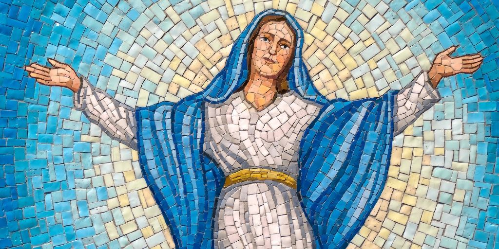 assumption of mary rosary garden mosaic luminous mysteries