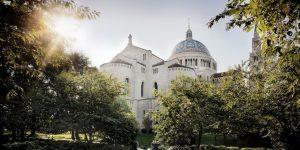 basilica exterior from mary's garden