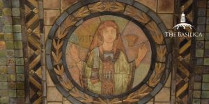 Ruth portrayed in pewabic rondel