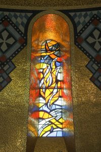 This flaming Trinity Dome window represents the Holy Spirit