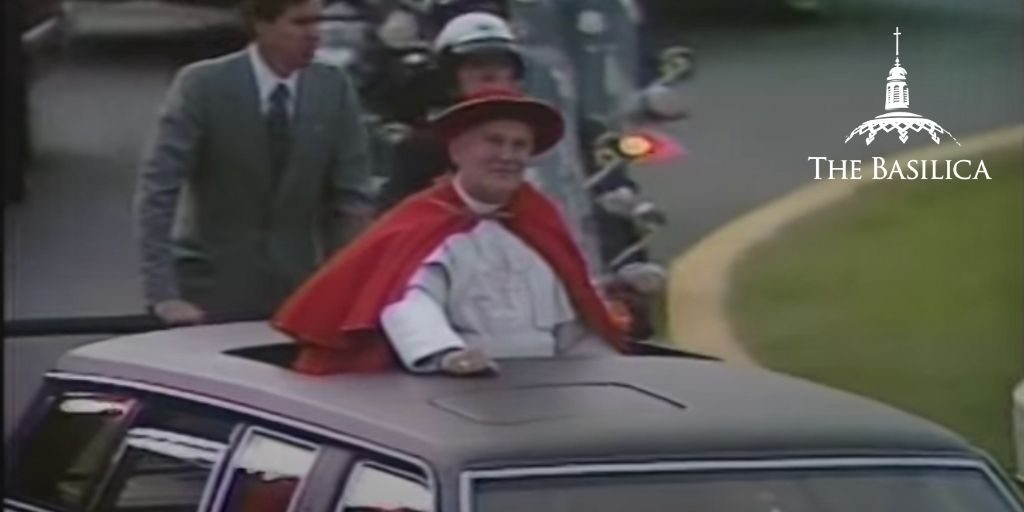 Pope John Paul II in car