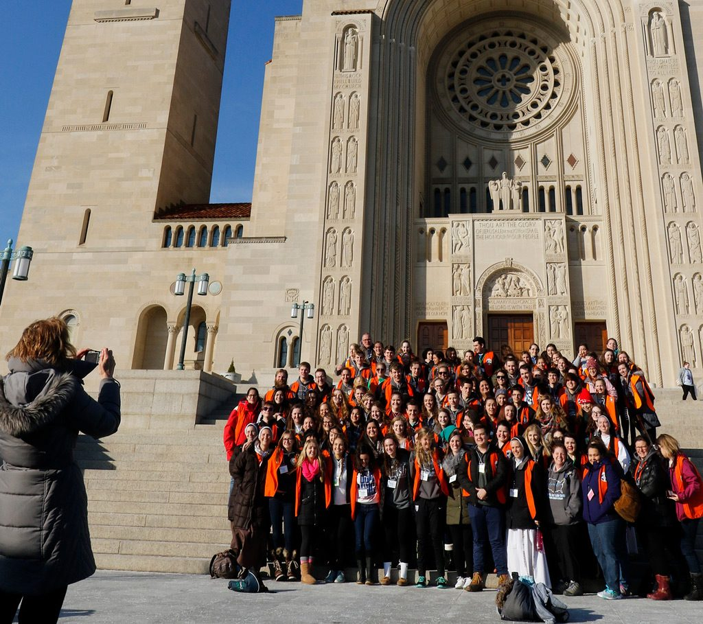 Basilica Exterior with group taking photograph