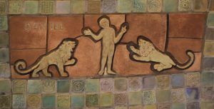 Daniel and the Lions' Den pewabic tile