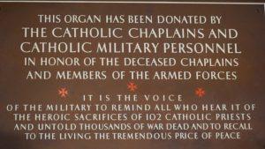 Organ dedication plaque