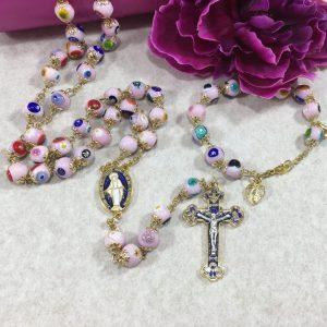 pink murano rosaries