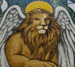 Detail of the lion in the Trinity Dome mosaic during assembly